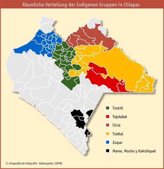 Räumliche Verteilung der Indigenen Gruppen in Chiapas