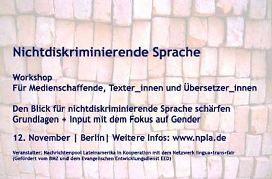 Workshop | Nichtdiskriminierende Sprache | 12. November | Berlin