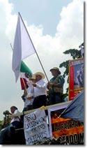 Foto: Javier Sicilia während der Bürgerkarawane für Frieden mit Gerechtigkeit und Würde © SIPAZ, August 2011